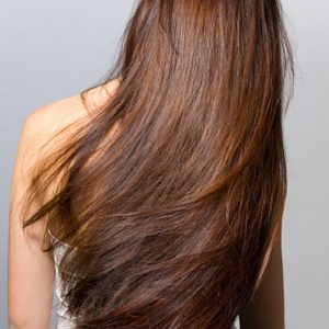 Long hair from behind Isolated On gray background
